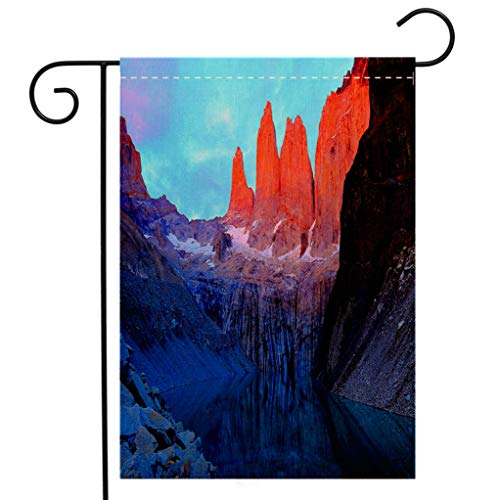 BEIVIVI Custom Double Sided Seasonal Garden Flag Torres Del Paine granites Sunrise Mirrored Lake Chilean Patagonia Landscape Welcome House Flag for Patio Lawn Outdoor Home Decor (Paine's Patio)