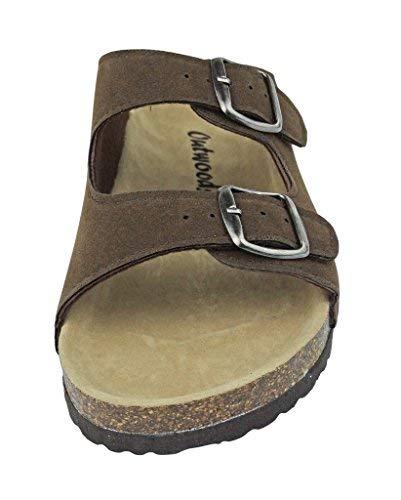 dde4efc0f Outwoods Womens Bork-46 Vegan Leather Adjustable Double-Strap Slip-On  Sandals (