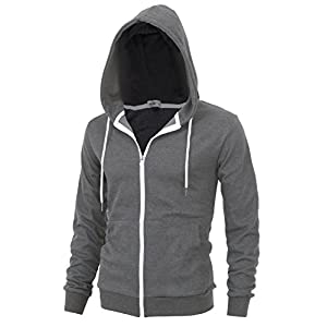"""DELIGHT"" Men's Fashion Fit Full-zip HOODIE with Inner Cell Phone Pocket 15"