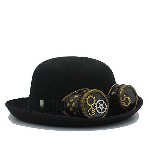 Sombrero Steampunk del jugador de bolos negro a mano para las mujeres Hombres con los vidrios del engranaje Casquillos del...