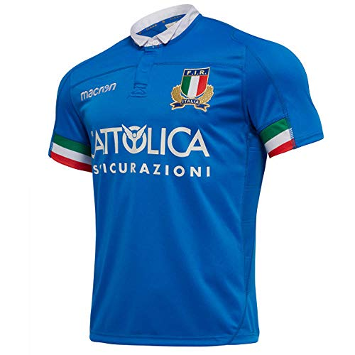 - Macron 2018-2019 Italy Home Replica Rugby Football Soccer T-Shirt Jersey (Kids)