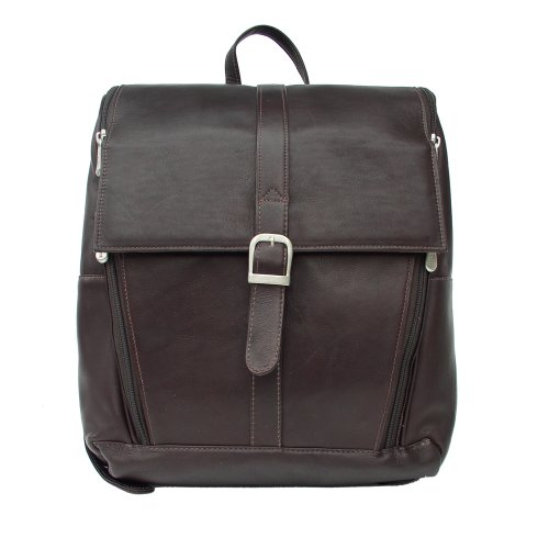 Piel Leather Slim Computer Backpack, Chocolate, One Size