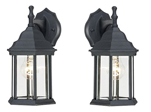 Center Textured Finish (Westinghouse 6783100 One-Light Exterior Wall Lantern, Textured Black Finish on Cast Aluminum with Clear Beveled Glass Panels (2))