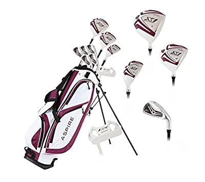 Aspire X1 Ladies Womens Complete Golf Club Set Includes Driver, Fairway, Hybrid, 6-PW Irons, Putter, Stand Bag, 3 H/C's Purple - Regular or Petite Size! by Precise Golf