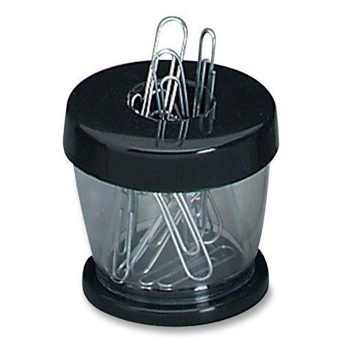 Gem Office Products Paper Clip Dispenser - Plastic - 1 Each - Clear, Black by Gem Office