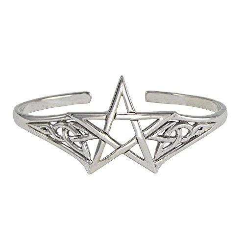 Sterling Silver Adjustable Cuff Pentagram Pentacle Bracelet