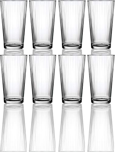 (Circleware 40105 Hill Street Set of 8 Heavy Base Highball Tumbler Drinking Glasses, 15.75 oz Beverage Cups for Water, Juice, Milk, Beer, Ice Tea and Farmhouse Decor 8pc Spectrum)