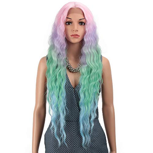 Joedir Lace Front Wigs 30'' Long Wavy Synthetic Wigs For Black Women 130% Density Ombre Rainbow Wigs with Baby Hair(QT PKBL07)