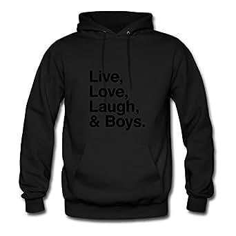 Ebolam Women Live , Love , Laugh And Boys Print Hoodies (x-large,black)