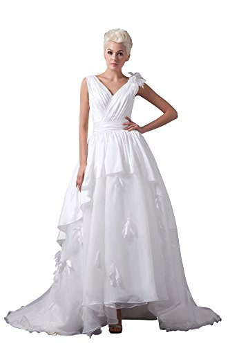 Vogue007 Womens V-neck Sleeveless Taffeta Pongee Satin Wedding Dress, ColorCards, 18 by Unknown