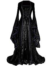 Vrouwen Jurk Middeleeuwse Retro Jurk Victoriaans Kostuum Trompet Mouw Lace Up Corset Taille Vloerlengte Jurk Renaissance Cosplay Jurk Halloween Party