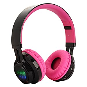 Wireless Bluetooth Headphones, Configear Stereo Surround On-ear Headphone with LED Lights, Headset Support Microphone and USB Charging, Foldable Portable Headsets,3.5MM AUX Cable for Cellphones,Laptop(Pink)