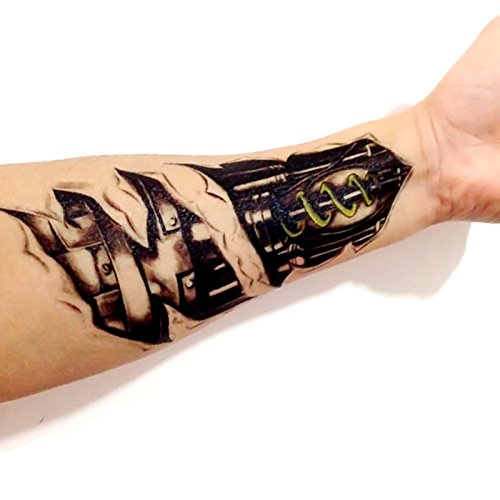 Kotbs 2 Sheets Large Temporary Tattoo Paper 3d Machine Robot Arm Design Body Tattoo Sticker for Men Women