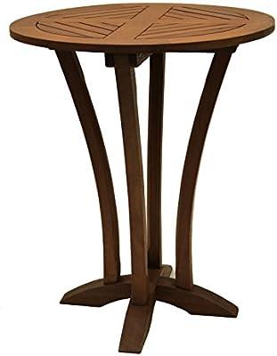 Outdoor Interiors Eucalyptus 30 Inch Diameter Round Bar Table
