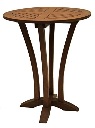 Outdoor Interiors Eucalyptus 30-Inch Diameter Round Bar Table - Made from dense and durable eucalyptus hardwood Ultra-stylish bar table Performs like teak - patio-tables, patio-furniture, patio - 41hHkUZ5h3L -