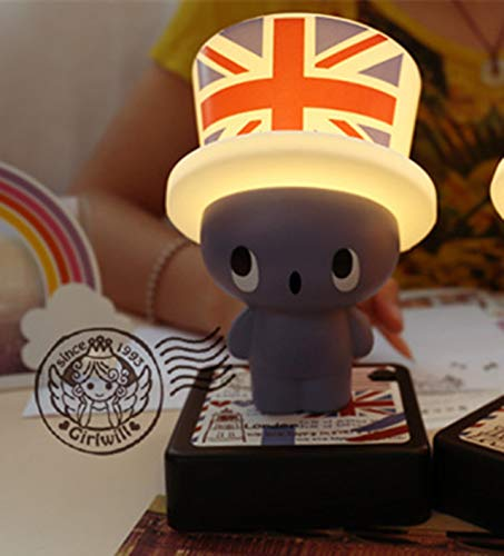 Girl hat Cap lamp Eye Creative Computer Battery Light Night Light Creative Gift (Blue