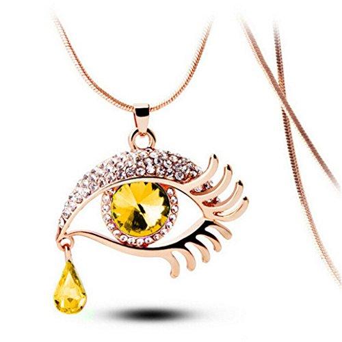 Clearance Fashion Magic Eye Tear Drop Eyelashes Crystal Necklace Long Sweater Chain (B) ()