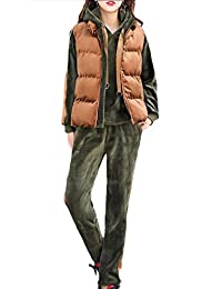 Doanpa Womens Fall Embroidered Hood Warm Active Workout Velour Sweatsuit