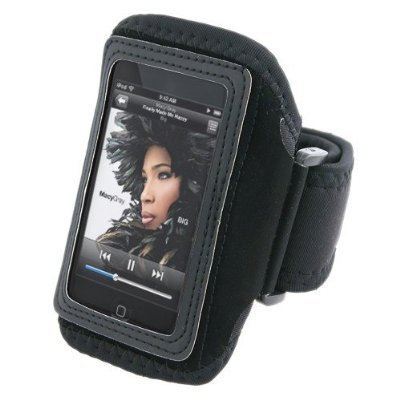 Black Adjustable Deluxe ArmBand / Sportband with Case for Apple iPod Touch / iPod Touch 2nd Generation