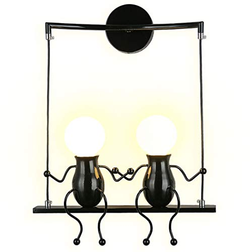 Modern Sconce Candle Wall - SOUTHPO LED Wall Light Fixtures Creative Double Little People Mini Wall Sconces Lighting Modern Decor Adjustable Swing Metal Bedside Lamp Children Cartoon Doll Gift Wall Lamps Bedroom 2×E26 (Black)