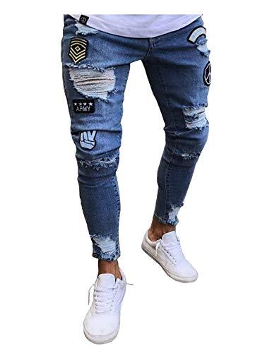 Fashion Pantalones ADELINA Vaqueros Ripped Hombres Casual Los Destruidos Jeans Holes Vintage De Ropa Casuales Pantalones Pantalones Pantalones Pantalones Hellblau qSwAxF