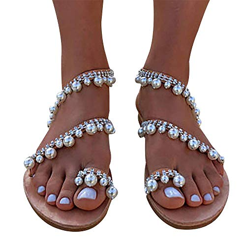 Xiakolaka Womens Sandals Flat,Beaded Toe Ring Casual Wedding Pearl Shoes Sliver1 41]()