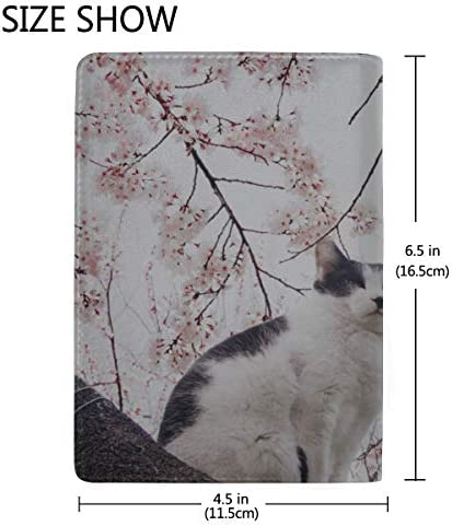 Cat And Flowers Of The Blossom Cherry Blocking Print Passport Holder Cover Case Travel Luggage Passport Wallet Card Holder Made With Leather For Men Women Kids Family