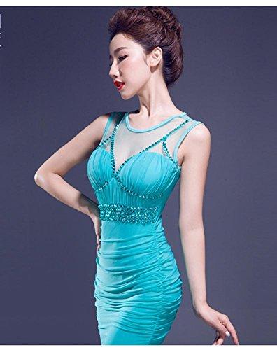 Emily Türkis Bodycon Rhinestone Kleid Falten Beauty Ruching durch sehen BRwWT8