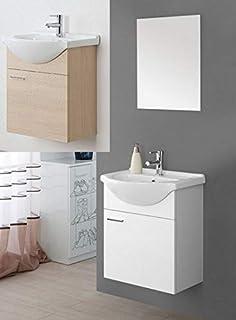 75e3fe3d4534 Arredo Bagno sospeso Bianco Laccato o Rovere specchiera 56 lavabo Ceramica  mobili Modello Icaro