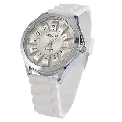 Souarts Womens Silver Color Hollow Sunflower Dial White Silcon Quartz Analog Wrist Watch 25cm