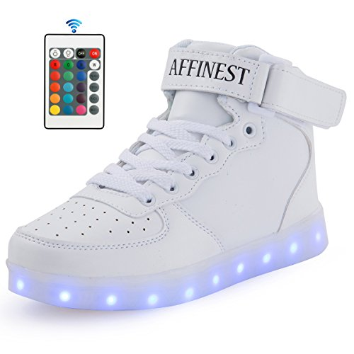 AFFINEST Unisex Niños Cargador USB Luces LED High Top Luminoso Cordones de Deporte Casual Sneaker Zapatos blanco
