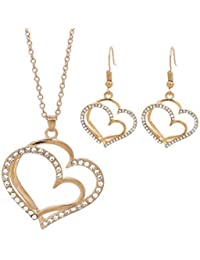 Women Earrings and Necklace Set, Staron Elegant Wedding Banquet Wedding Accessories Double Love Heart-shaped Eardrop Earrings Necklace Jewelry Set