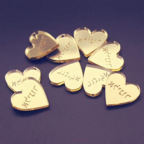 Miao Express 50pcs Personalized Engraved Name Card Mirror/Clear MR & MRS Surname Love Heart Wedding Table Decoration Favors Customized Size,Gold ()