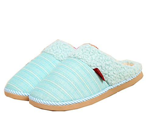 Ciabattine Calde A Righe Blu Foderate Pantofole Da Donna A Felpa