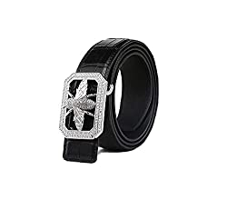 Men's Crocodile Leather Belt With Stainless Steel buckle and Diamonds