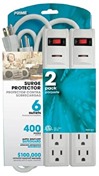 Prime Wire Cable PB2013X2 6-Outlet 400J Surge Protectors with 1.5-Foot Cord, White, 2-Pack