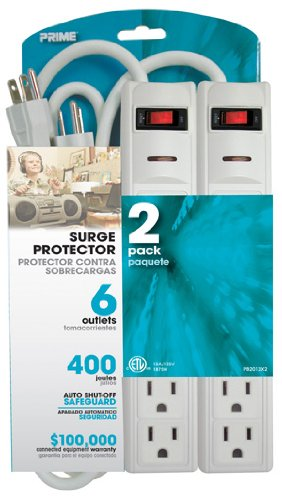 Prime Wire & Cable PB2013X2 6-Outlet 400J Surge Protectors with 1.5-Foot Cord, White, - 400 Outlet