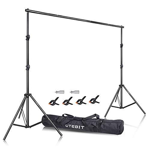 UTEBIT 8x10 Backdrop Stand Adjustable with 4 Pack Spring Muslin Clips 4'' Heavy Duty 2.6x3m Background Kit for Photography Parties Video Studio 10 Ft Collapsible Photo Booth Vinyl backdrops Support -