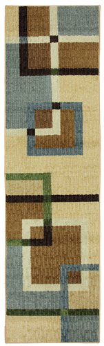 American Rug Craftsmen Mohawk Home Connexus Overlapping Squares Printed Rug  2X8  Blue
