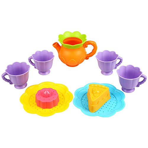 Peradix Play Tea Set Toys Tableware Kitchen Toy Set for Toddlers Pretend Play Afternoon Tea Party Supply Accessories and Bath Time with Mesh Storage Bag to Hang Dry (Bath Tea Time)