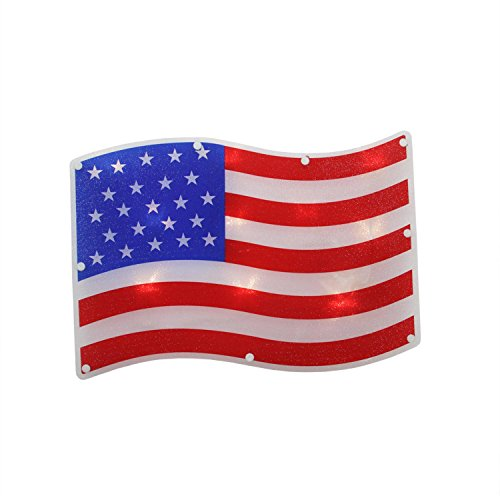 "Sienna 13.25"" B/O LED Lighted Patriotic 4th of July American Flag Window Silhouette Decoration with Timer"