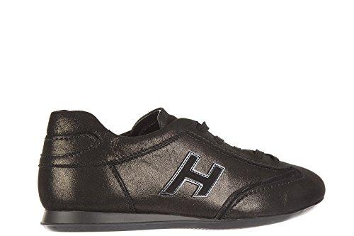 Hogan chaussures baskets sneakers femme en cuir olympia h flock noir