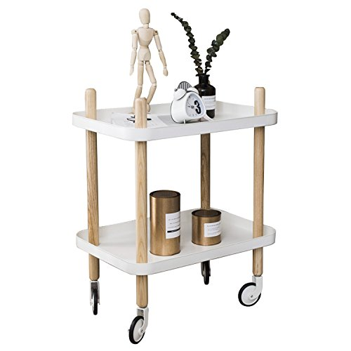 Sofa Side Table with Wheels, Metal Tray End Table Living Room Bedroom, 2-Tier Nightstand Utility Rolling Cart, White