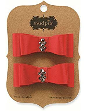 Baby Hair Clips - Red Jeweled Bows