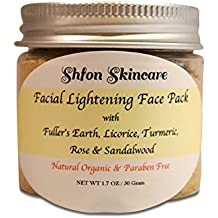 Natural Organic Facial Lightening, Whitening Face Mask with Fuller's Earth, Licorice, Turmeric, Rose & Sandalwood - 1.7 Oz,, Made in USA