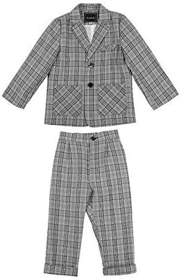 Abbigliamento per Il Tempo Libero o Abito da Festa di Nozze LOLANTA Completo da Ragazzo 2 Pezzi Blazer e Pantaloni per Bambini Plaid Grigio Abito
