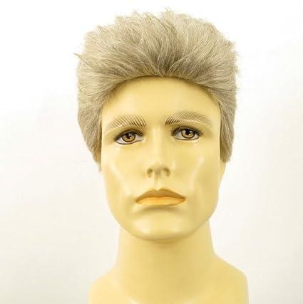 Peluca hombre corto de cabello 100% natural blanco y gris ALBERT 51