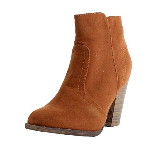 Breckelle's Women's HEATHER-34 Faux Suede Chunky Heel Ankle Booties Tan 6