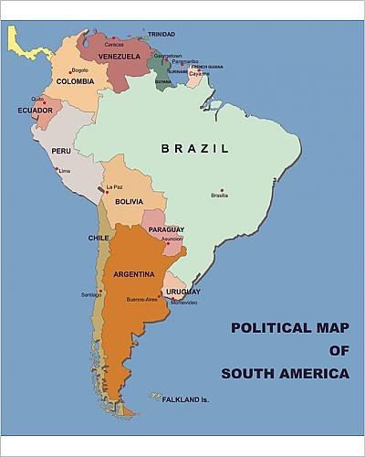 Amazon.com: 10x8 Print of political map of south america in vector ...