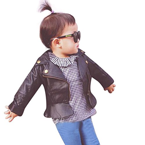 Perman Kids Infant Baby Faux Leather Jacket Zipper Hooded Coats Outwear Coat (18M, Black) - Leopard Baby Bunting